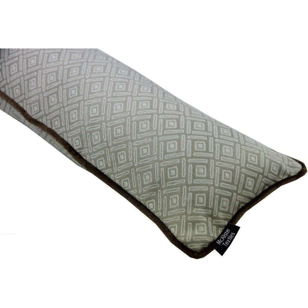 McAlister Textiles Elva Geometric Beige Grey Draught Excluder Draught Excluders