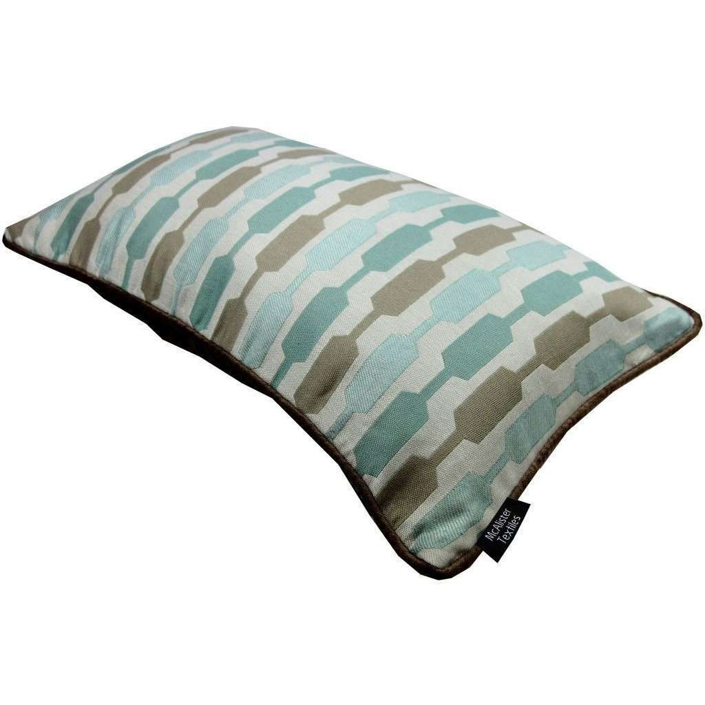 McAlister Textiles Lotta Duck Egg Blue + Brown Cushion Cushions and Covers