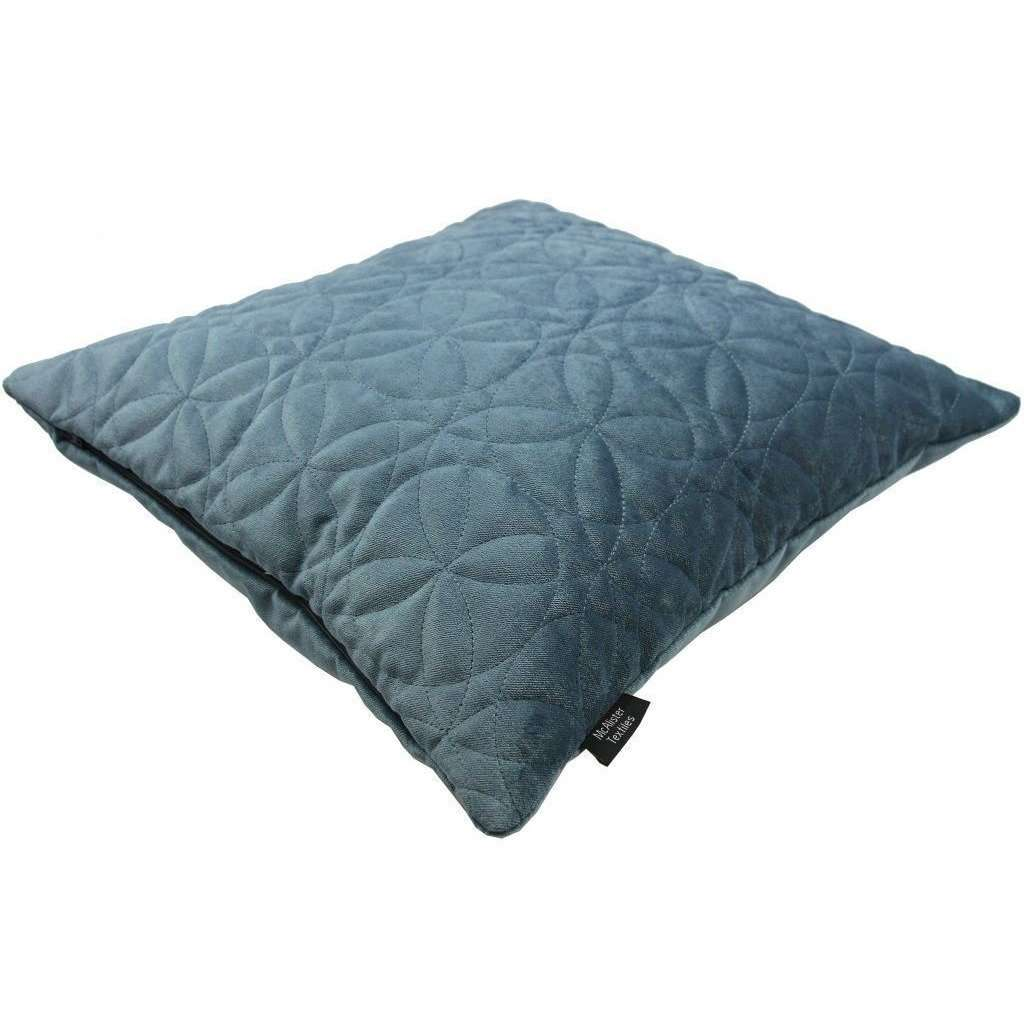McAlister Textiles Round Quilted Dark Blue Velvet Cushion Cushions and Covers