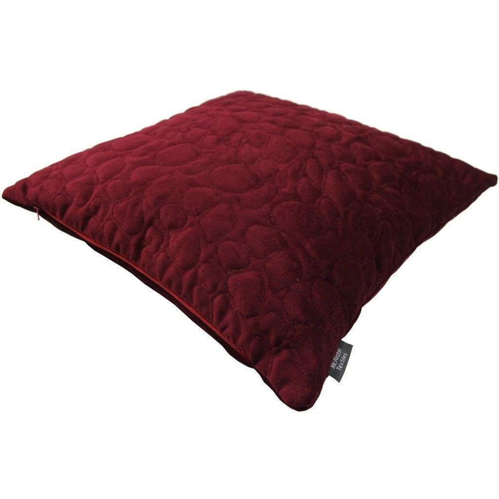 McAlister Textiles Pebble Quilted Wine Red Velvet Pillow Pillow