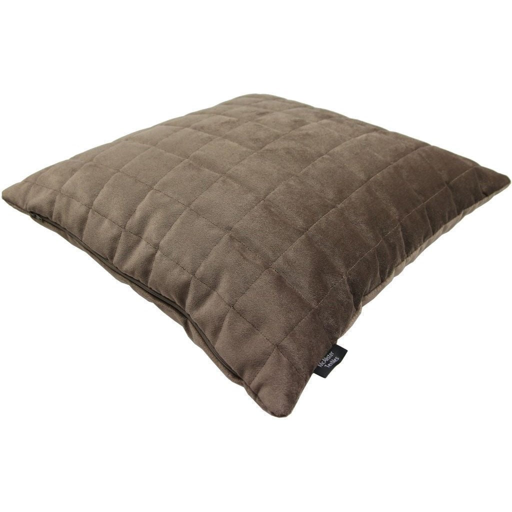 McAlister Textiles Square Quilted Mocha Brown Velvet Cushion Cushions and Covers