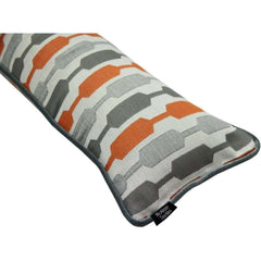 McAlister Textiles Lotta Orange and Grey Striped Draught Excluder-Draught Excluders-