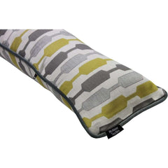 McAlister Textiles Lotta Ochre and Grey Striped Draught Excluder-Draught Excluders-