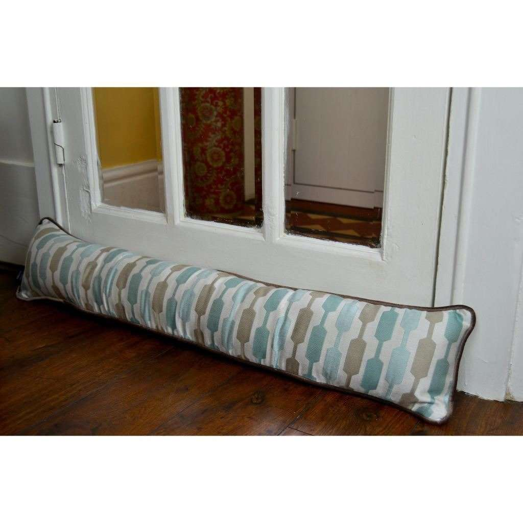McAlister Textiles Lotta Duck Egg Blue + Beige Draught Excluder Draught Excluders