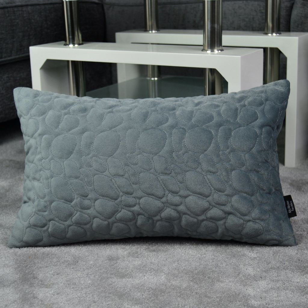 McAlister Textiles Pebble Quilted Silver Grey Velvet Pillow Pillow