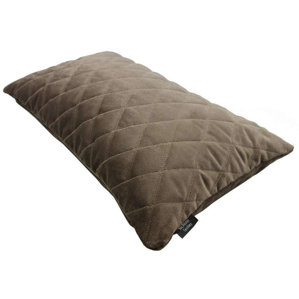 McAlister Textiles Diamond Quilted Mocha Brown Velvet Cushion Cushions and Covers