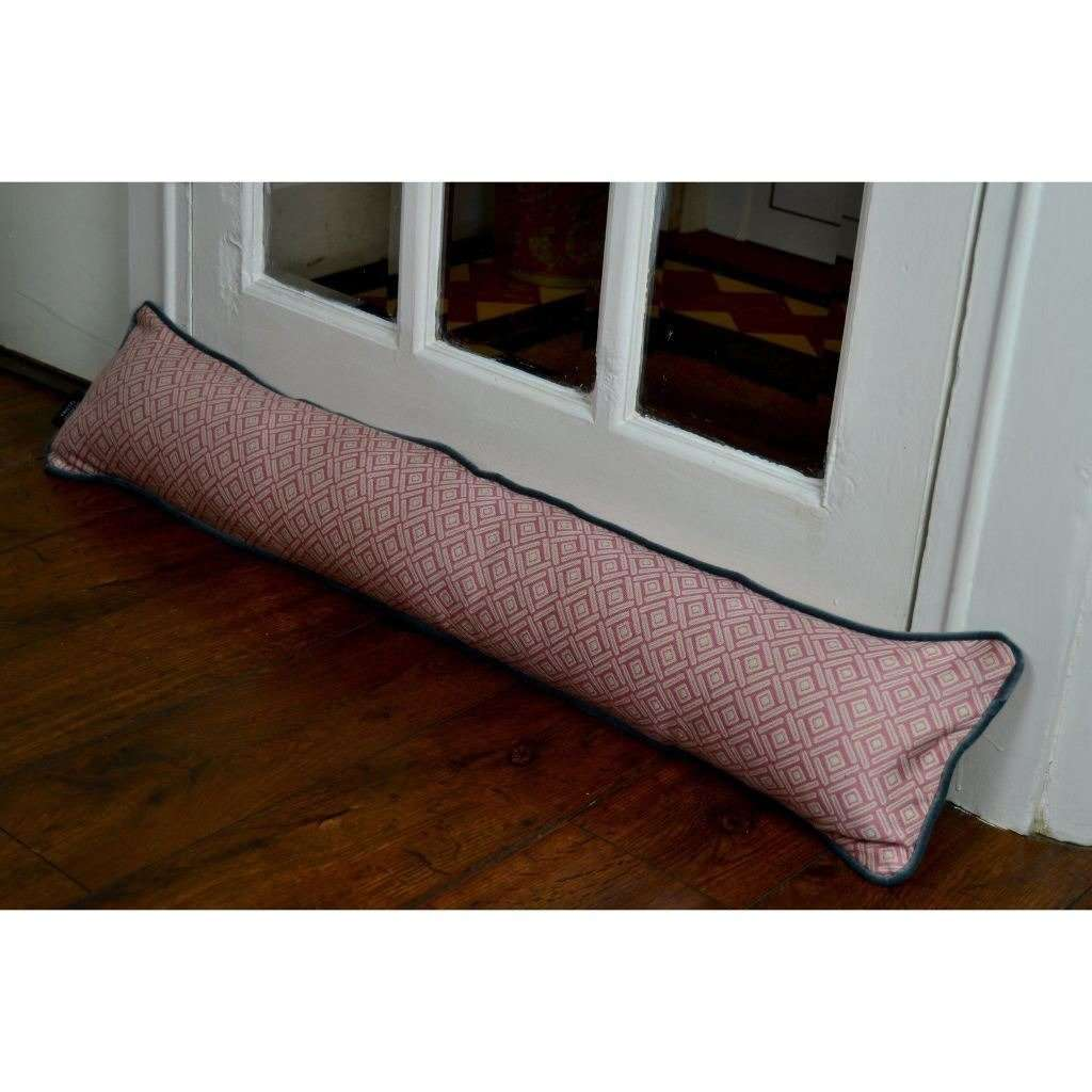 McAlister Textiles Elva Geometric Blush Pink Draught Excluder Draught Excluders