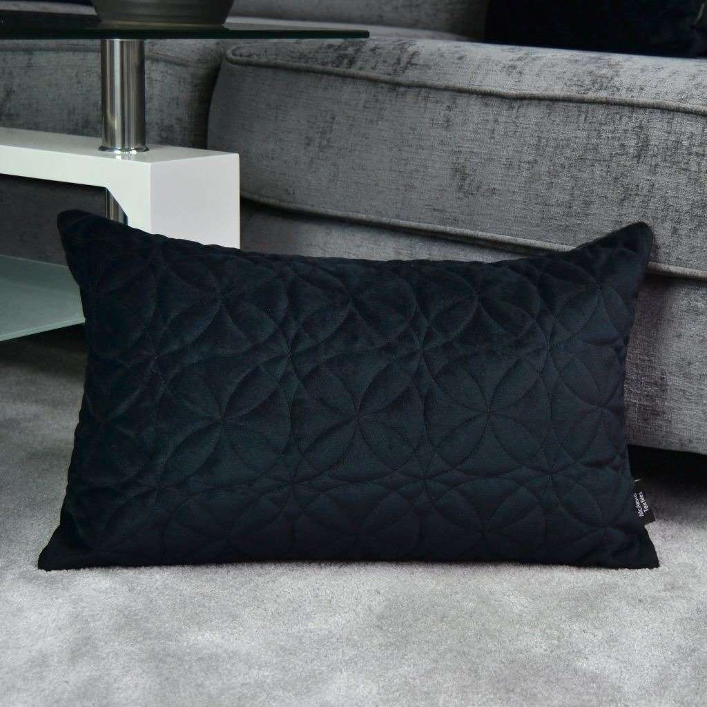 McAlister Textiles Round Quilted Black Velvet Pillow Pillow