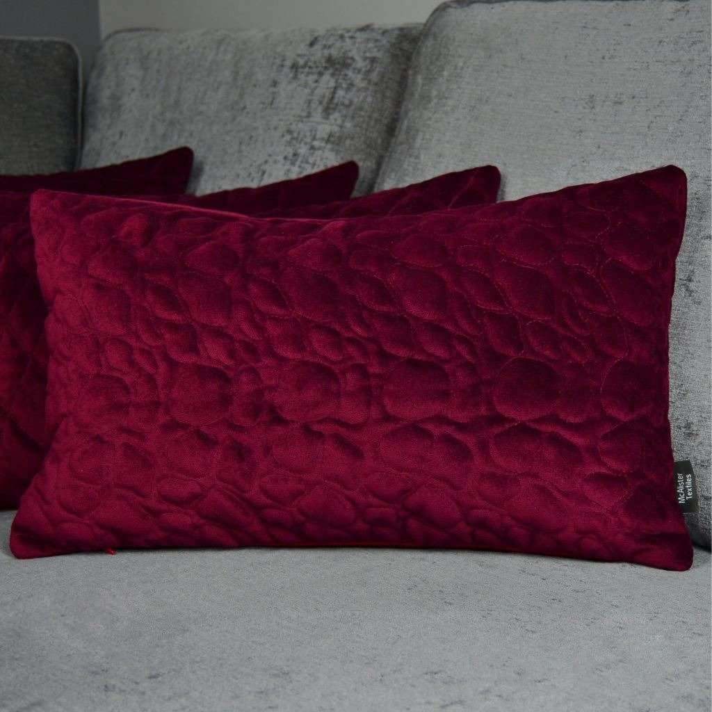 McAlister Textiles Pebble Quilted Wine Red Velvet Cushion Cushions and Covers