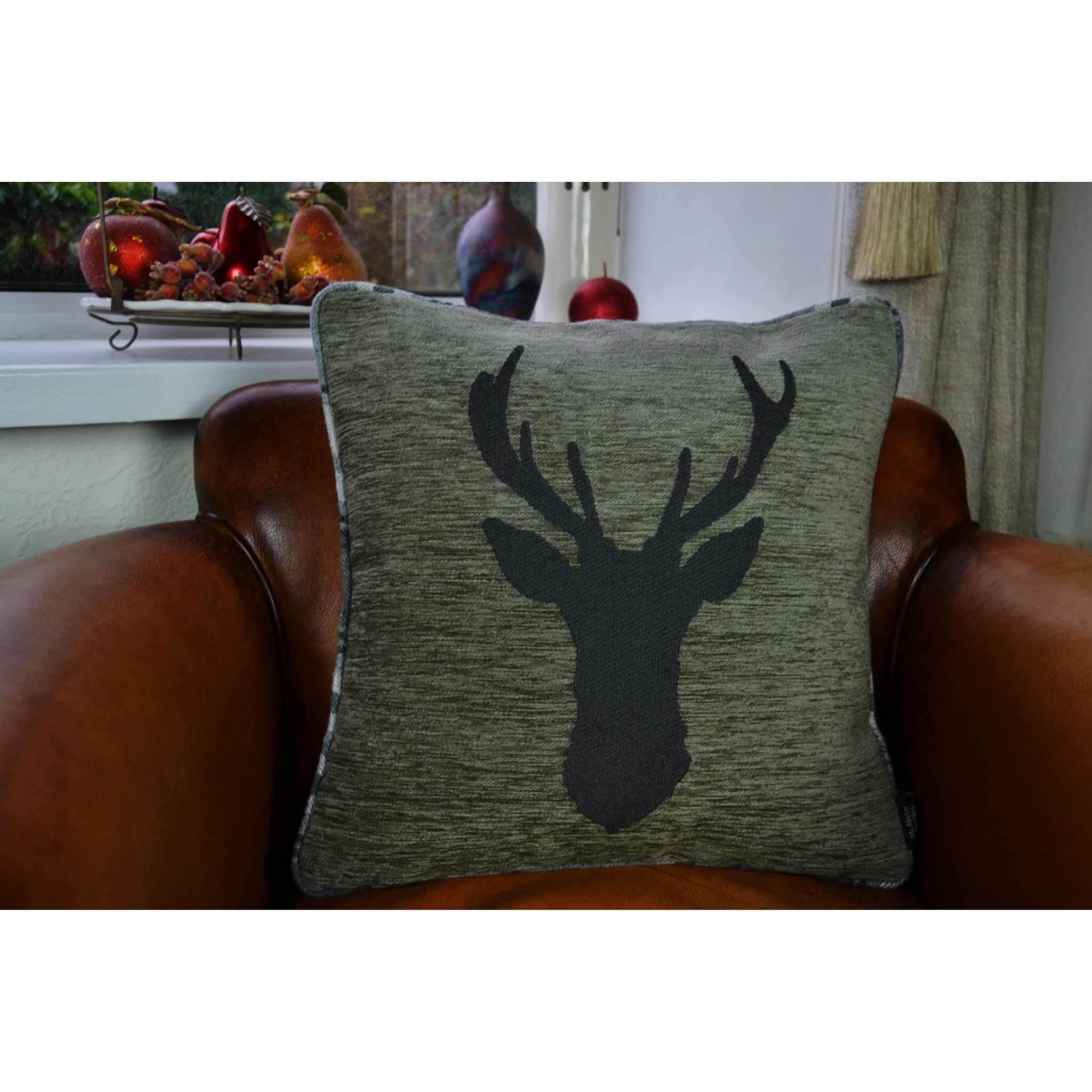 McAlister Textiles Stag Charcoal Grey Tartan 43cm x 43cm Cushion Set Cushions and Covers