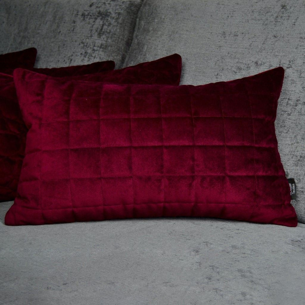 McAlister Textiles Square Quilted Wine Red Velvet Pillow Pillow
