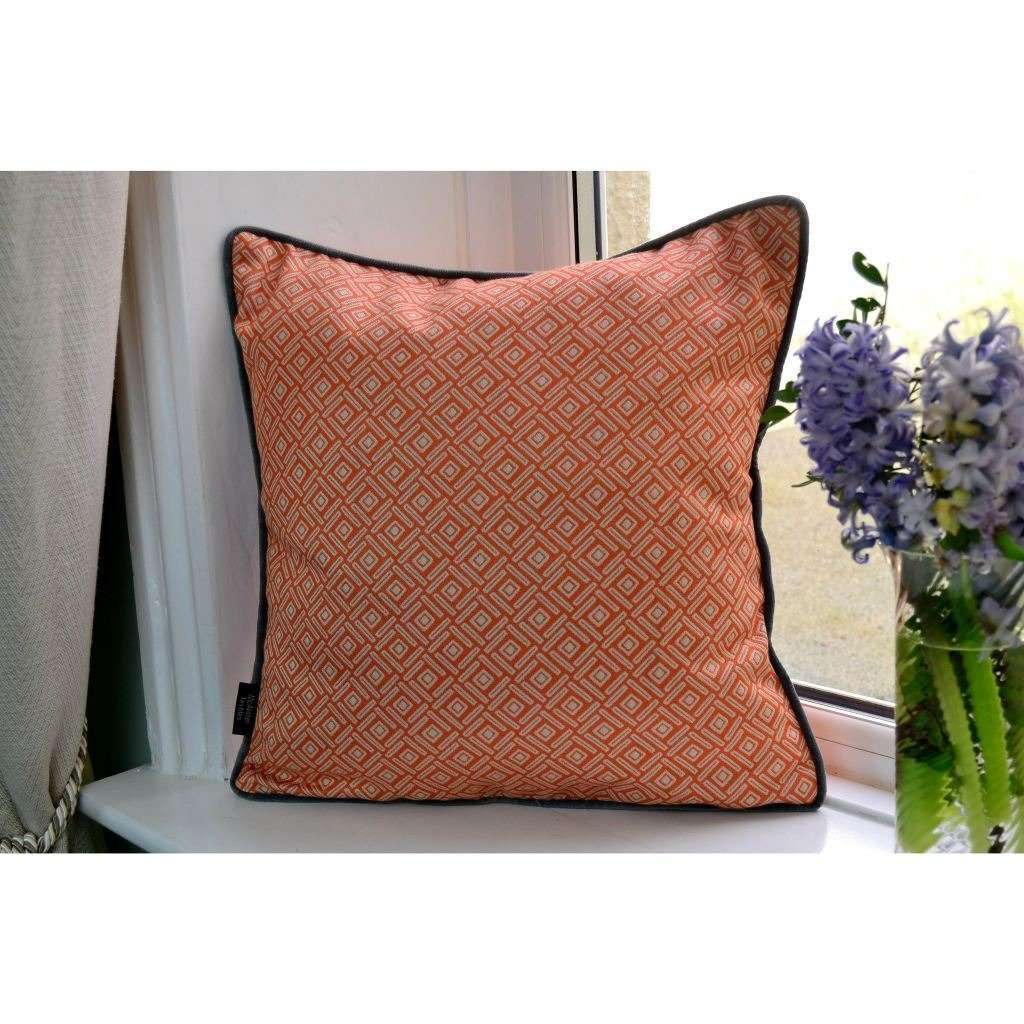 McAlister Textiles Elva Geometric Burnt Orange Cushion Cushions and Covers