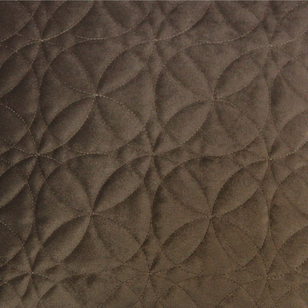 McAlister Textiles Round Quilted Mocha Brown Velvet Pillow Pillow