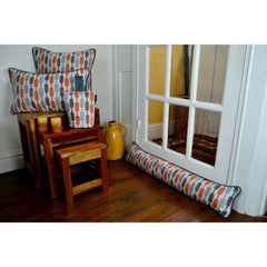 McAlister Textiles Lotta Orange and Grey Striped Cushion-Cushions and Covers-
