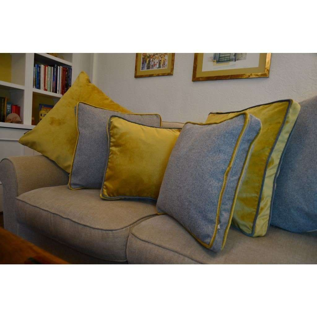 McAlister Textiles Deluxe Large Velvet Yellow + Grey Box Cushion Box Cushions