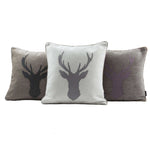 Carica l'immagine nel visualizzatore di Gallery, McAlister Textiles Stag Charcoal Grey Tartan 43cm x 43cm Cushion Set Cushions and Covers
