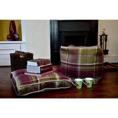 McAlister Textiles Boutique Deluxe Tartan Heritage Small Box Cushion | Mulberry Purple and Beige-Box Cushions-