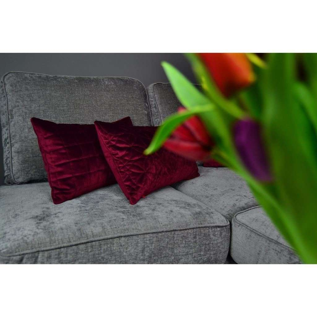 McAlister Textiles Round Quilted Wine Red Velvet Pillow Pillow