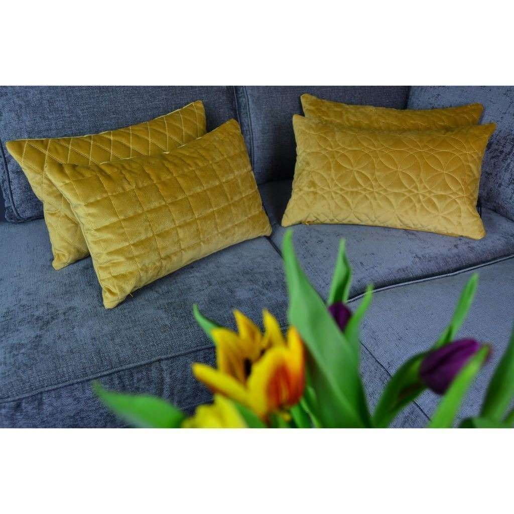 McAlister Textiles Round Quilted Yellow Gold Velvet Pillow Pillow
