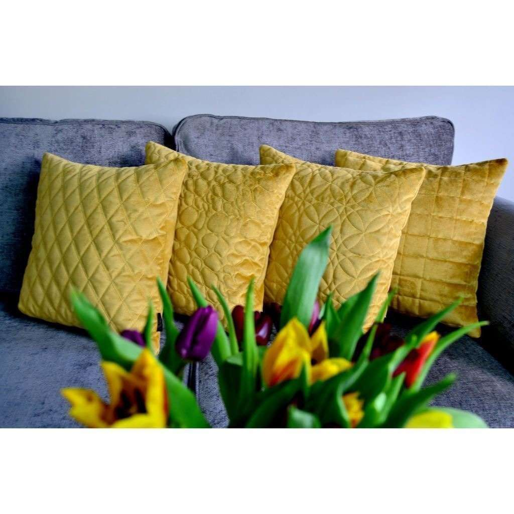 McAlister Textiles Round Quilted Yellow Gold Velvet Cushion Cushions and Covers