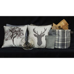 Load image into Gallery viewer, McAlister Textiles Stag Beige Grey Tartan 43cm x 43cm Cushion Set Cushions and Covers