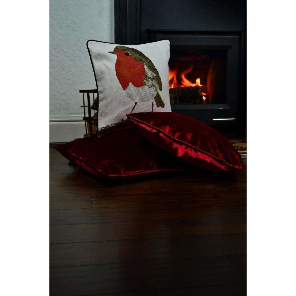 McAlister Textiles Winter Robin Christmas Cushion Cushions and Covers