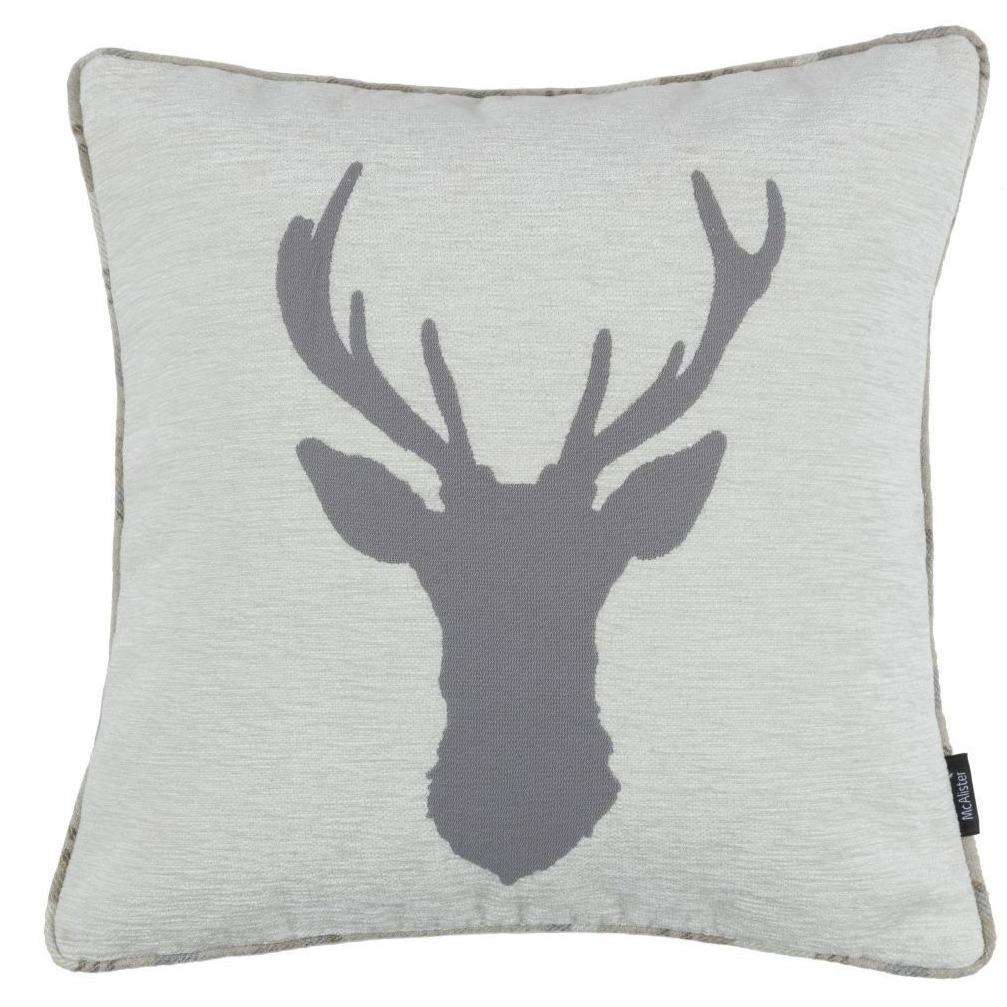 McAlister Textiles Tartan Stag Pale Beige Grey Cushion Cushions and Covers Cover Only