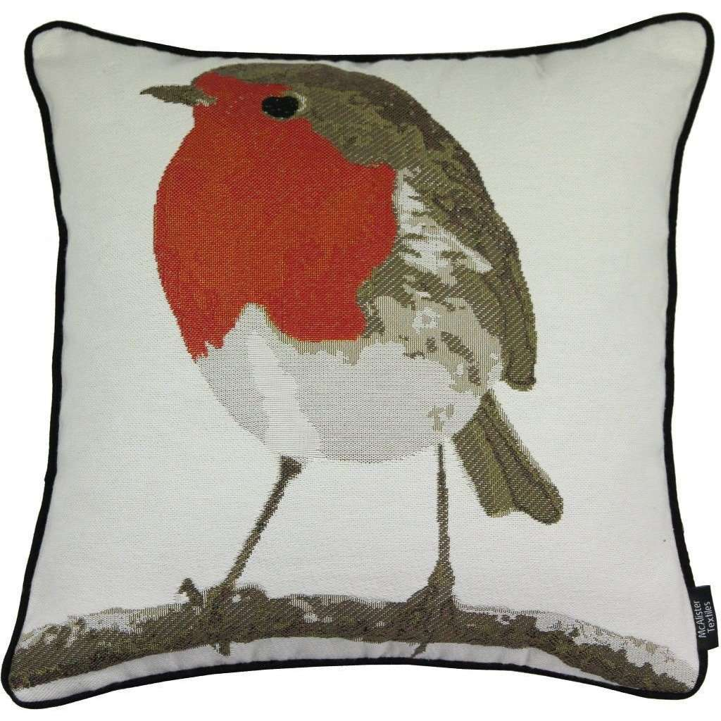 McAlister Textiles Winter Robin Christmas Cushion Cushions and Covers Cover Only