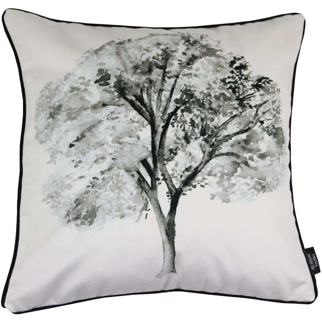 McAlister Textiles Novelty Black + White Tree Velvet Cushion Cushions and Covers Polyester Filler