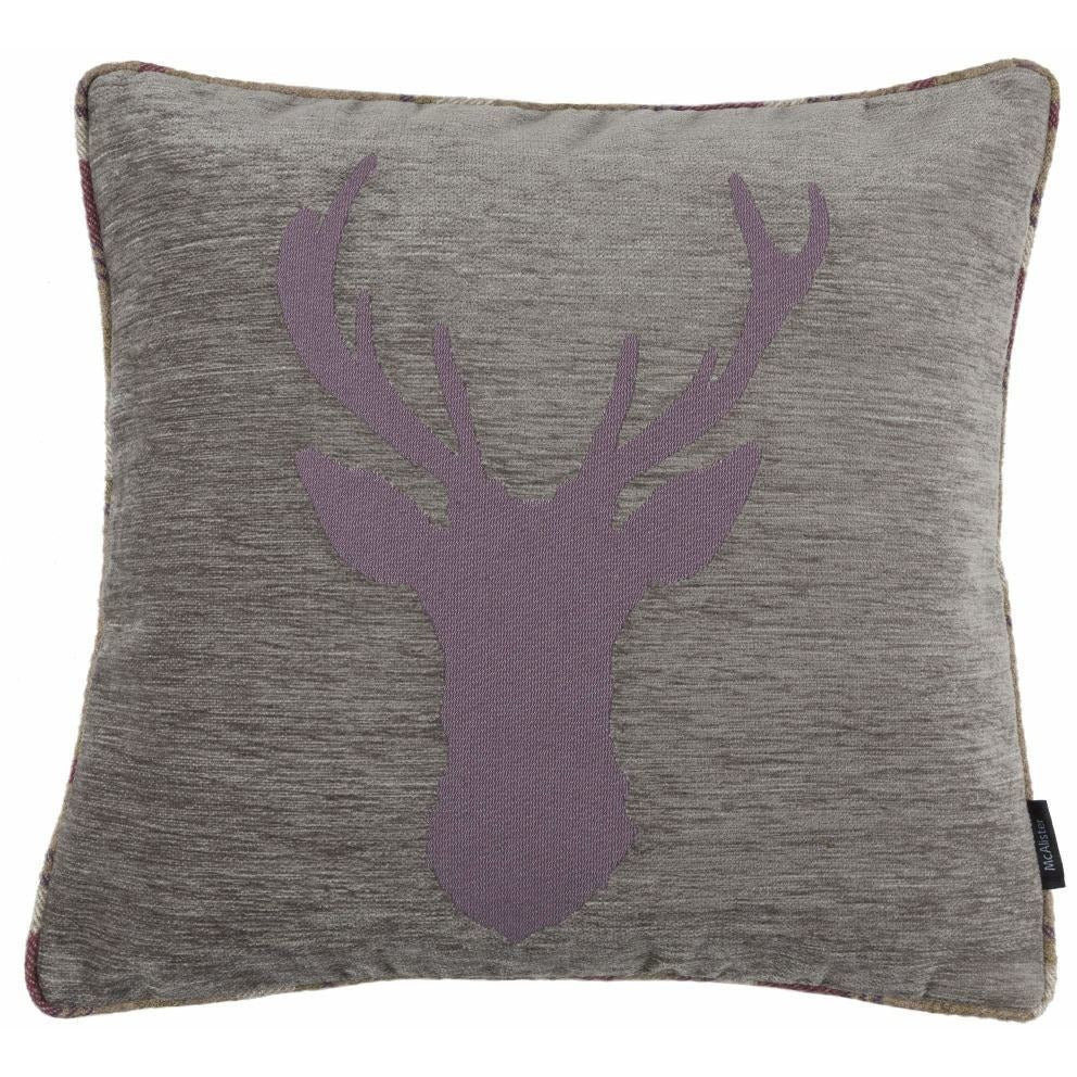 McAlister Textiles Stag Purple + Green Tartan Cushion Cushions and Covers Cover Only