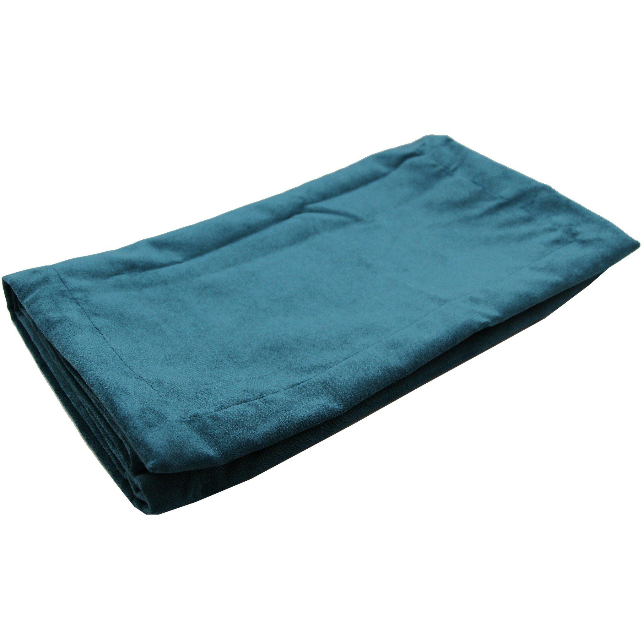 McAlister Textiles Matt Blue Teal Velvet Throw Blankets & Runners Throws and Runners Bed Runner (50cm x 240cm)