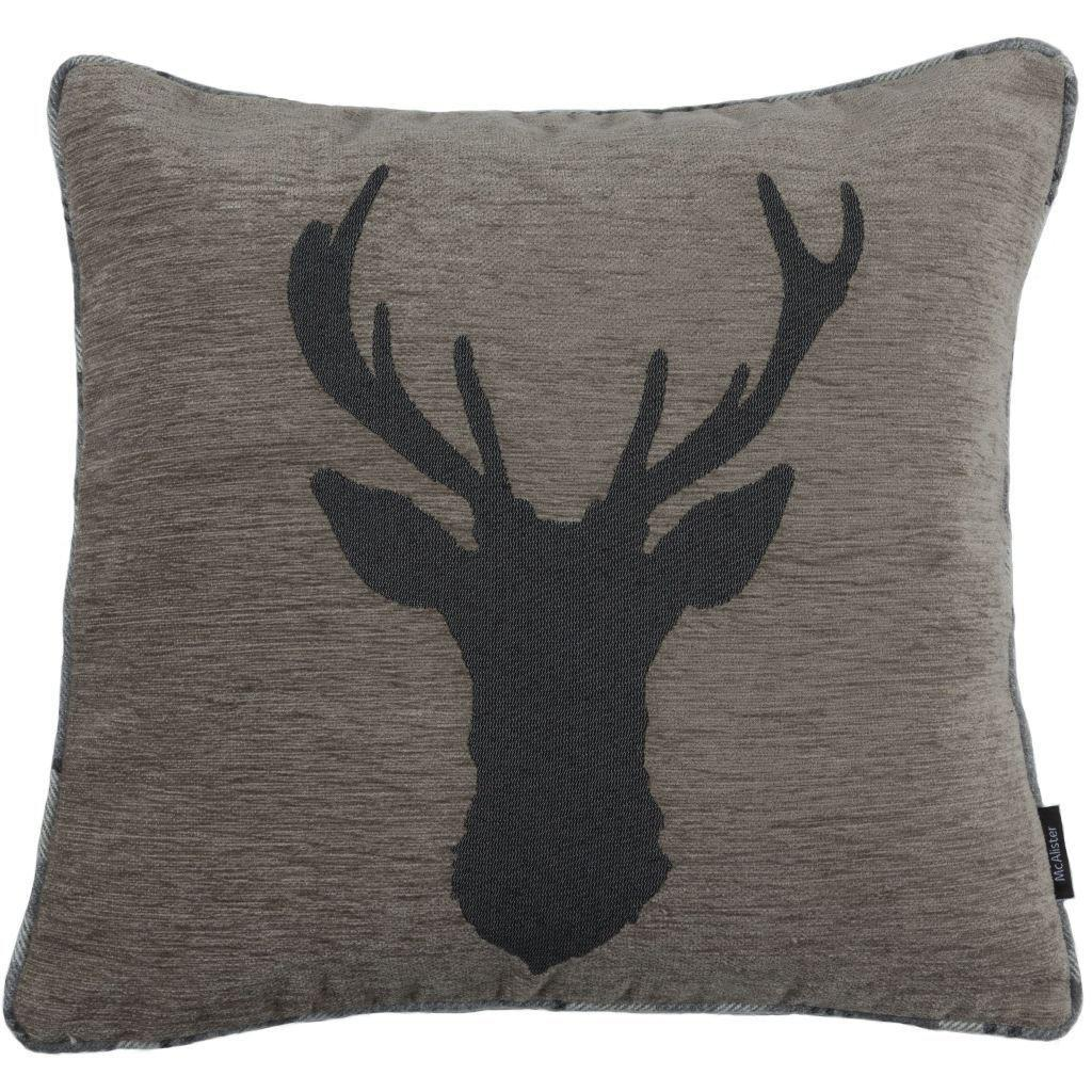McAlister Textiles Stag Charcoal Grey Tartan Cushion Cushions and Covers Cover Only