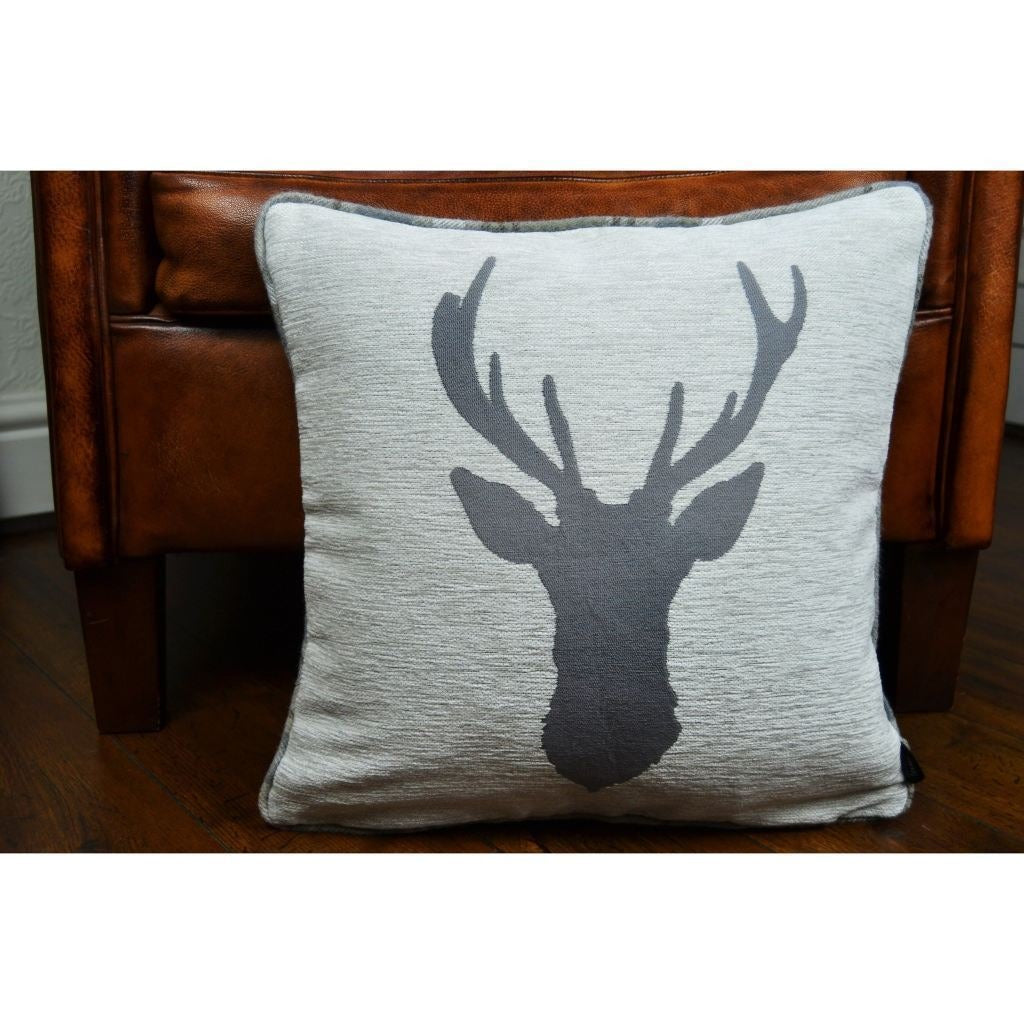 McAlister Textiles Stag Pale Beige Grey Tartan Cushion Cushions and Covers