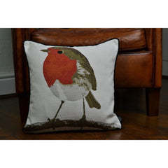 McAlister Textiles Festive Christmas Red Robin Bird Cushion-Cushions and Covers-