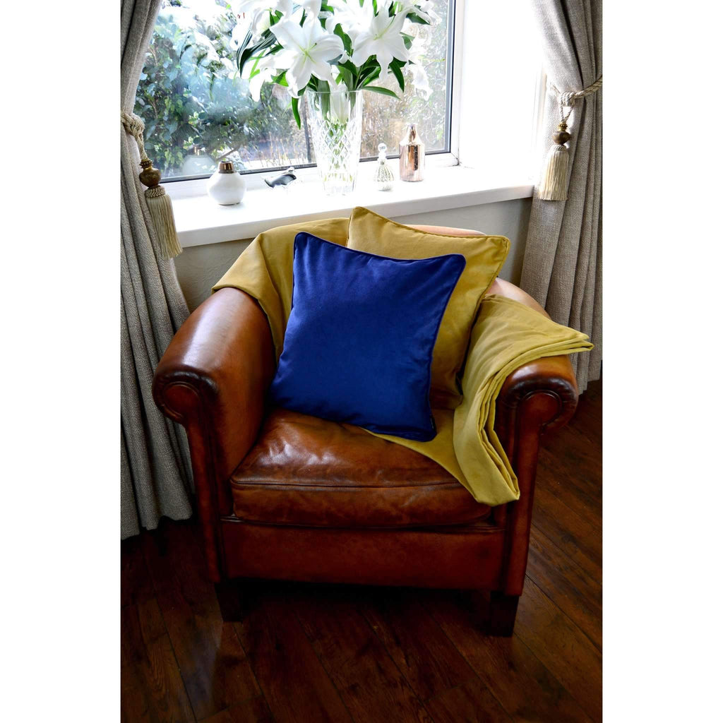 McAlister Textiles Matt Ochre Yellow Velvet Throw Blanket Throws and Runners