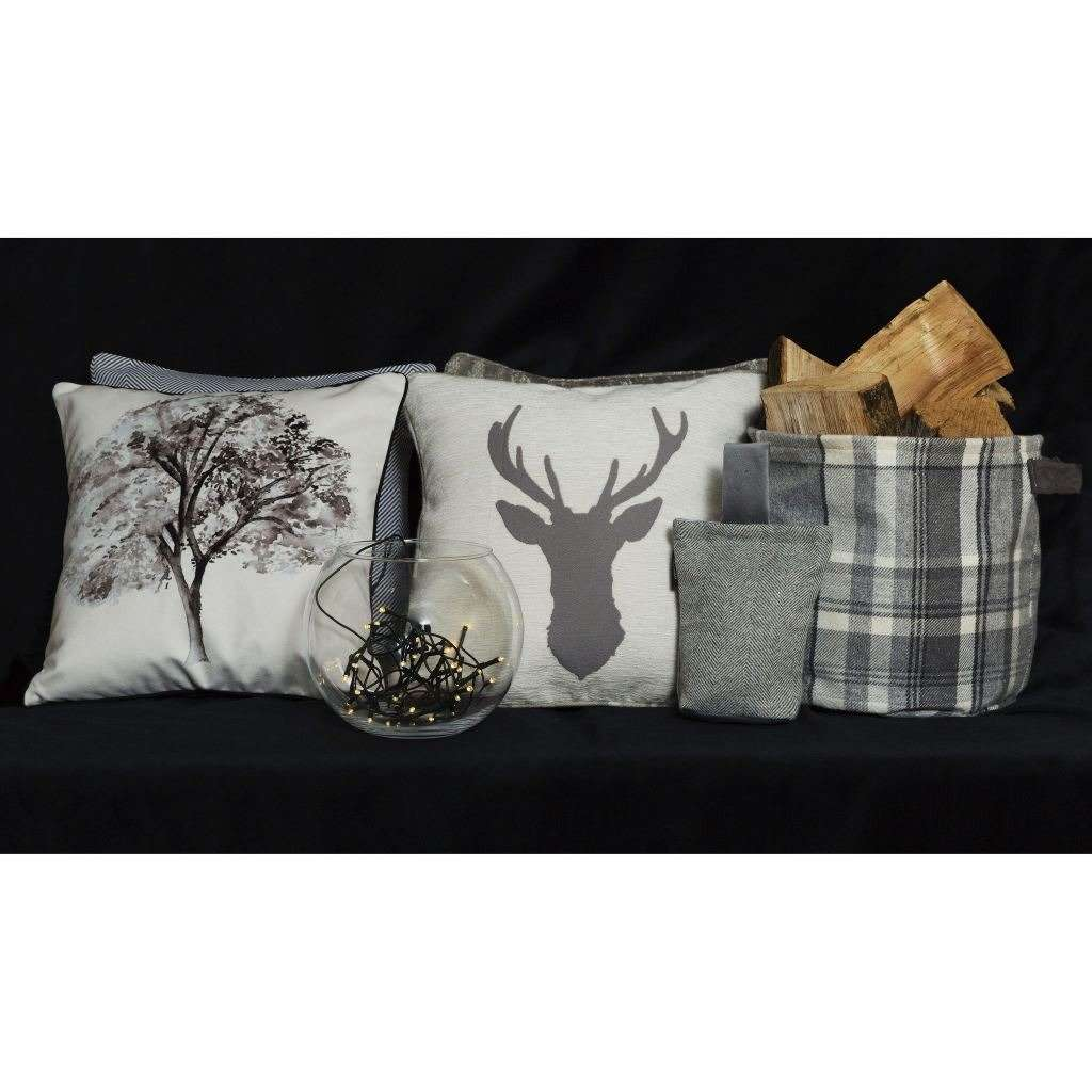 McAlister Textiles Novelty Black + White Tree Velvet Cushion Cushions and Covers