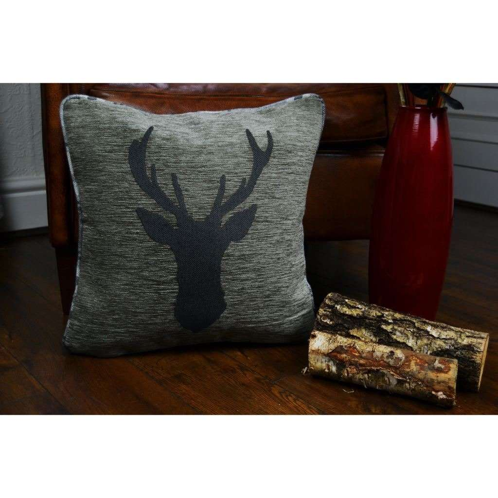 McAlister Textiles Stag Charcoal Grey Tartan Cushion Cushions and Covers