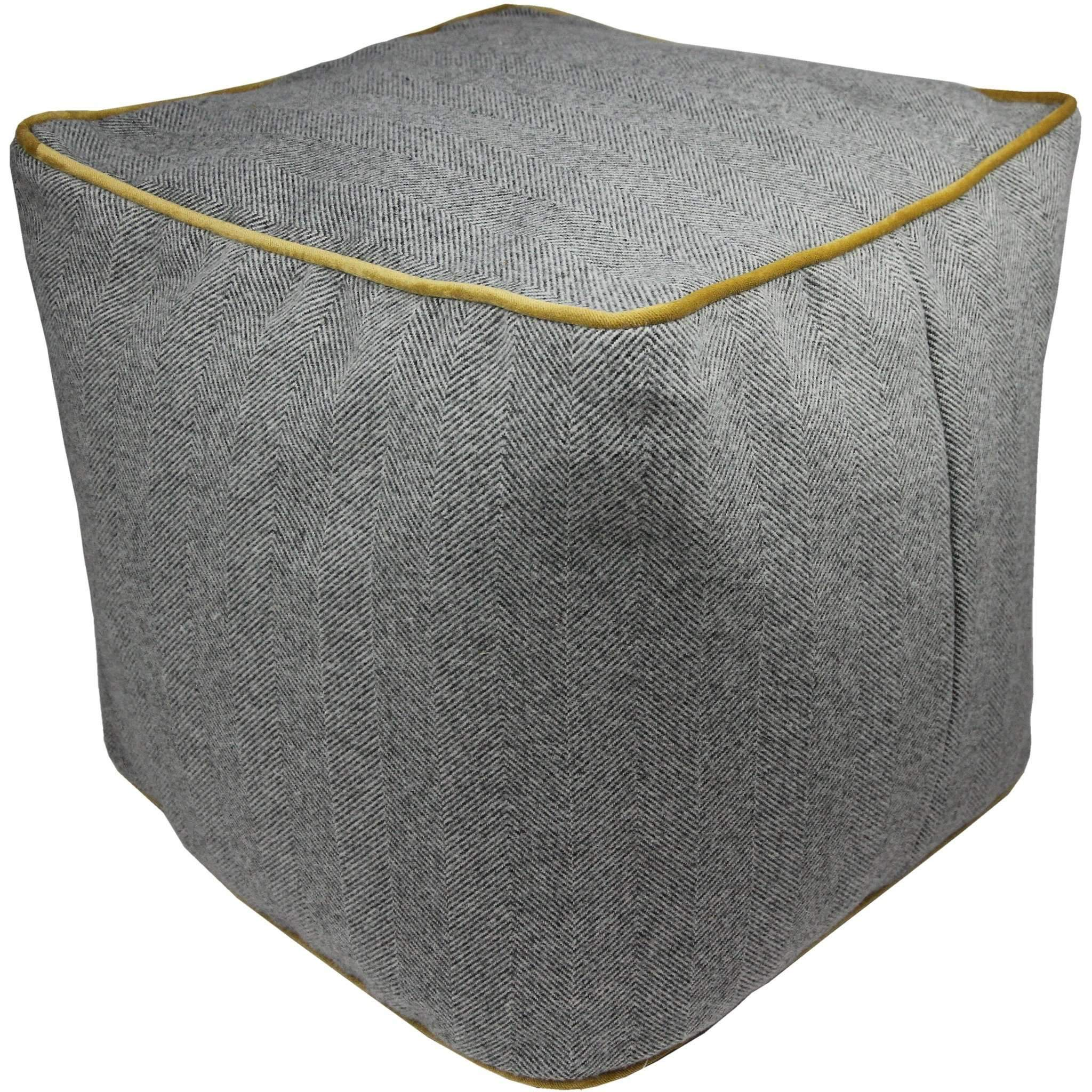 McAlister Textiles Deluxe Herringbone Grey + Yellow Cube Seat Stool Square Stool