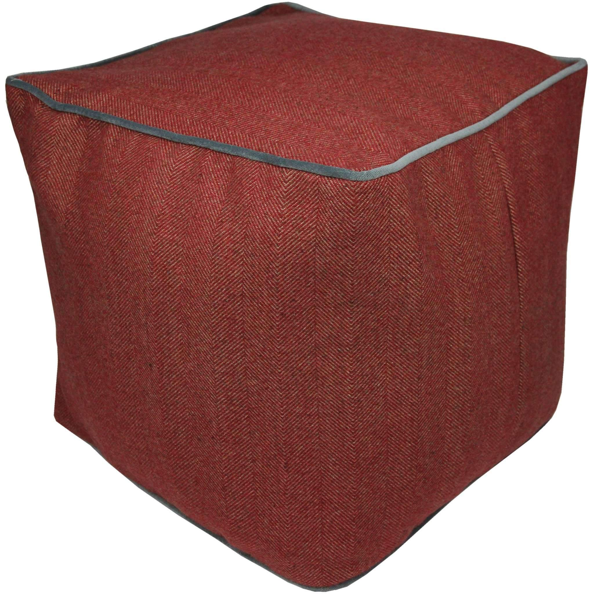 McAlister Textiles Deluxe Herringbone Red Cube Seat Stool Square Stool
