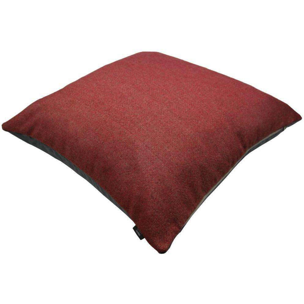 McAlister Textiles Deluxe Herringbone Red 66cm x 66cm Floor Cushion Floor Cushions