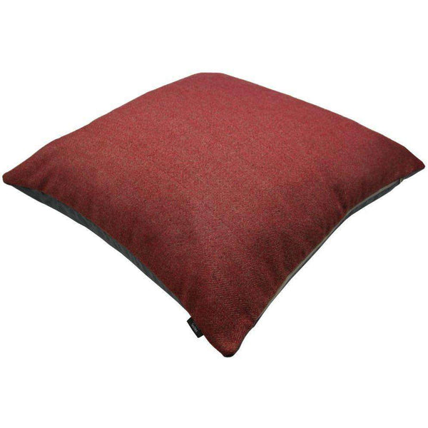 McAlister Textiles Deluxe Herringbone Red Square Floor Cushion Floor Cushions