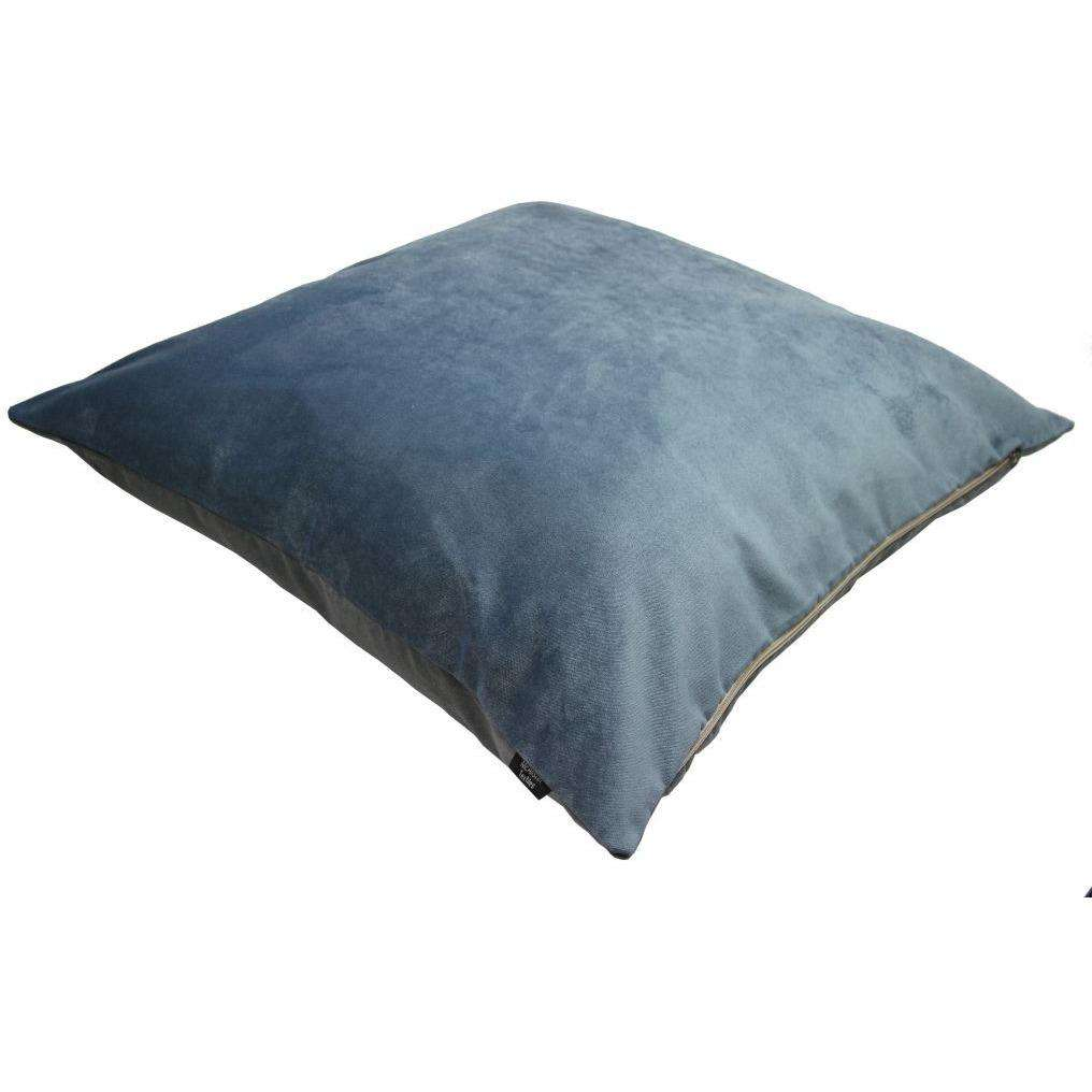 McAlister Textiles Boutique Deluxe Matt Velvet Large Floor Cushion | Petrol Blue and Grey-Floor Cushions-