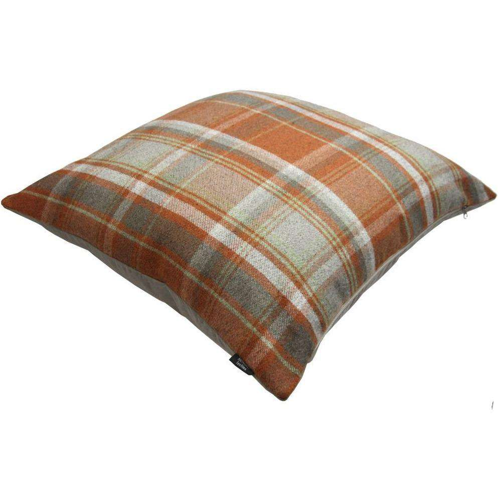 McAlister Textiles Deluxe Tartan Burnt Orange + Grey 66cm x 66cm Floor Cushion Floor Cushions