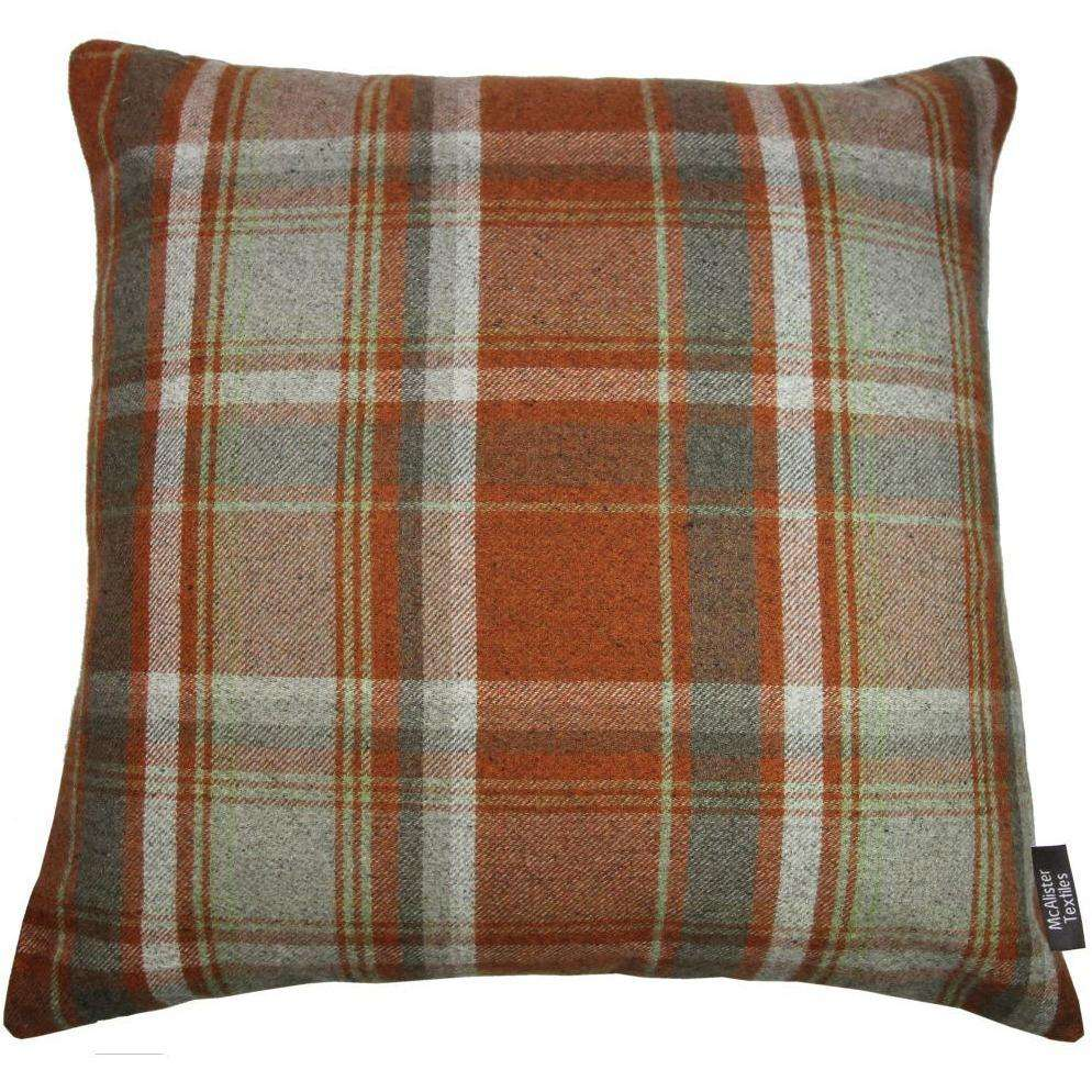 McAlister Textiles Deluxe Tartan Burnt Orange + Grey Floor Cushion Floor Cushions