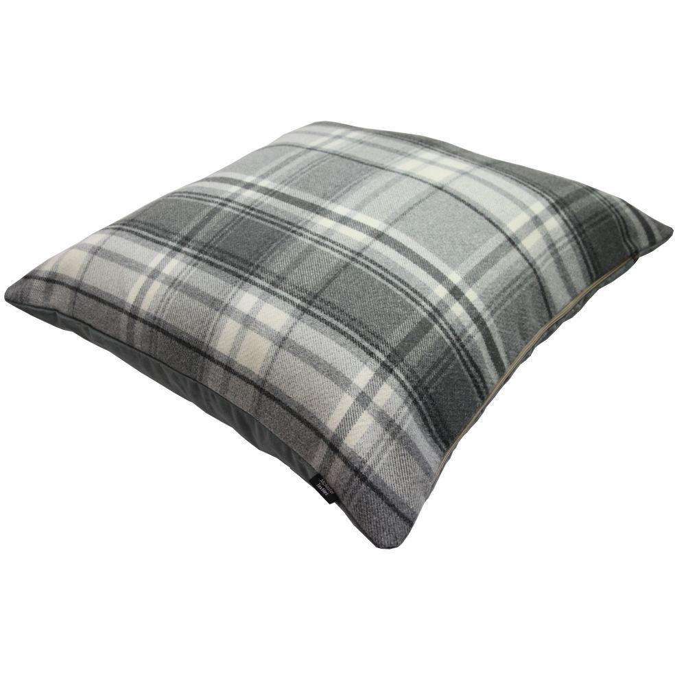 McAlister Textiles Deluxe Tartan Charcoal Grey 66cm x 66cm Floor Cushion Floor Cushions