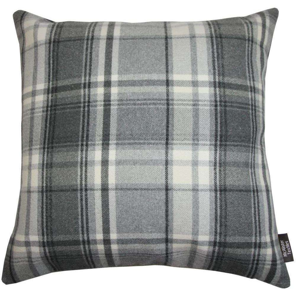 McAlister Textiles Tartan Charcoal Grey Floor Cushion-Floor Cushions-