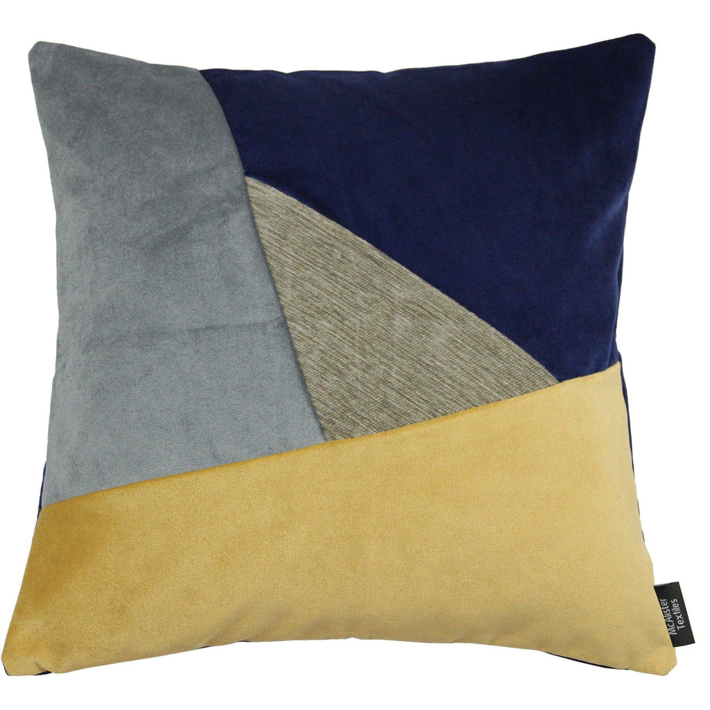 McAlister Textiles Triangle Patchwork Velvet Navy, Yellow + Grey Cushion Cushions and Covers Cover Only 43cm x 43cm