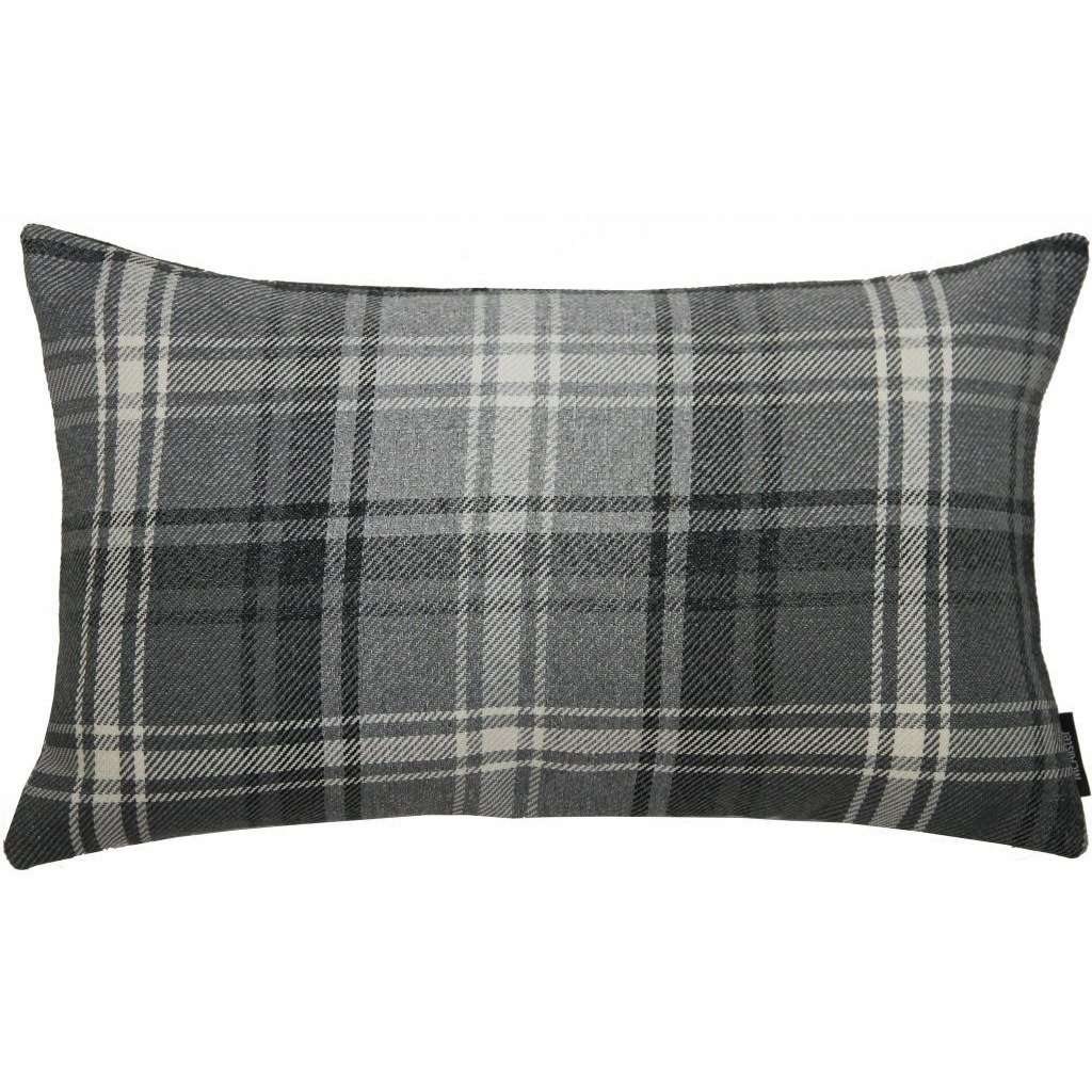McAlister Textiles Angus Charcoal Grey Tartan Cushion Cushions and Covers Cover Only 50cm x 30cm