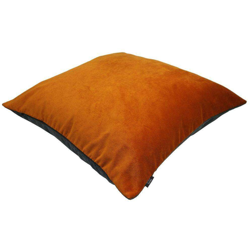 McAlister Textiles Deluxe Velvet Burnt Orange + Grey 66cm x 66cm Floor Cushion Floor Cushions
