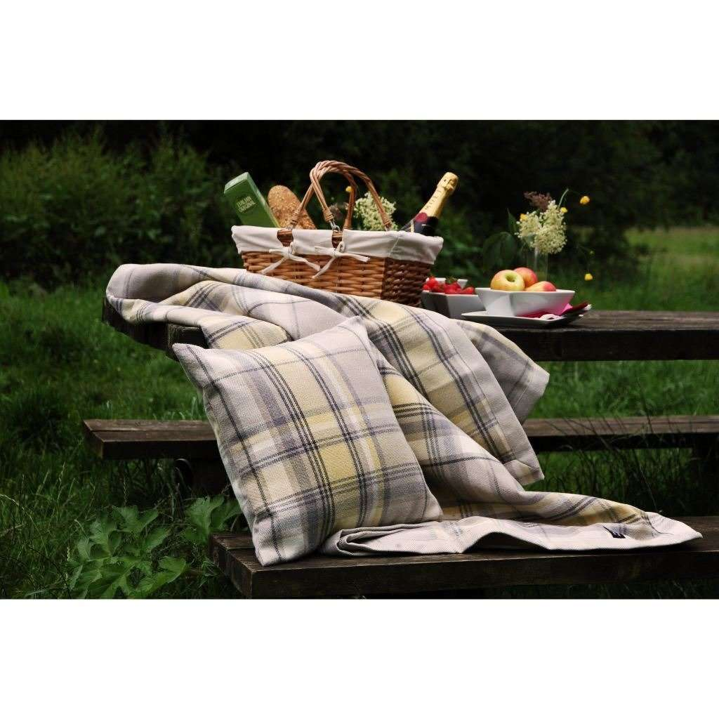 McAlister Textiles Heritage Yellow + Grey Tartan Throws & Runners Throws and Runners